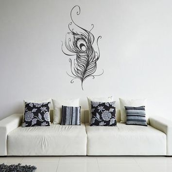 ik1632 Wall Decal Sticker Indian peacock feather bird living room bedroom