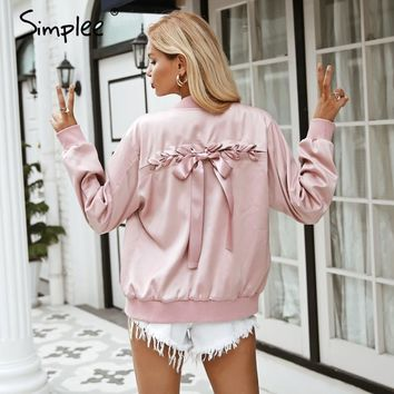 Simplee Elegant satin basic jacket coat Women lace up pocket biker jacket outwear winter casual zipper bomber jacket