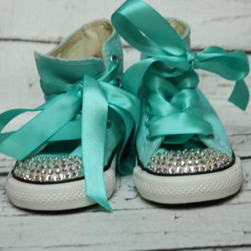 Bling Crystal Converse, Tiffany Blue with Clear Swarovski Crystal BLING Converse toddler, Hi Top with Ribbon laces