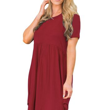 Wine Short Sleeve Pullover Babydoll Style Casual Dress