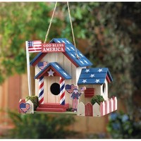 Darling God Bless America Birdhouse