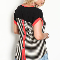 Plus Size Striped Color Block Shirt - LoveCulture