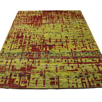 Yellow & Red Indian Sari Art Silk 6x8 One Of a Kind Rug 2860