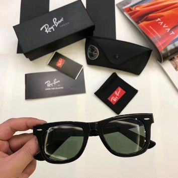 New Ray Ban RB 2140 901 Wayfarer Black Frame Green Lenses 50mm