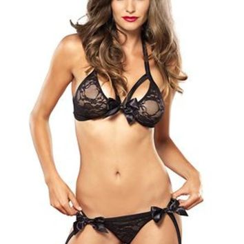 2PC.Strappy lace bra top and garter g-string w/Satin bow in BLACK