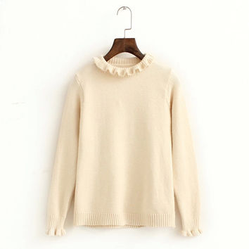 Plain Ruffled Knitted Sweater