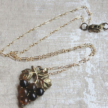 Clustered Tigers Eye Vintage Bead Pendant -Brass Leaves with Tiger Eye -Gold Filled Chain- POP VINTAGE
