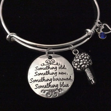 Wedding Day Poem Expandable Charm Bracelet Adjustable Wire Bangle Wedding Shower Bridal Gift