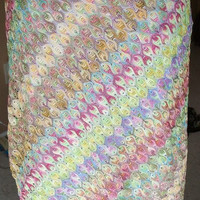 Rainbow Retro Vintage 1990s Grunge Hippie Skinny Crochet Pattern Lined Pencil Skirt Sz M