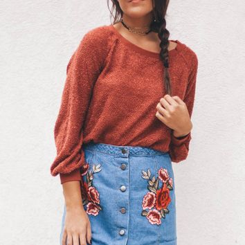 Heart in Havana Rust Terry Slouch Sweater