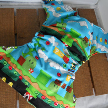 Super Mario Inspired Cloth Diaper! Mario Cloth Diaper! All in one Diaper! Diaper Cover! Luigi Diaper! All in two! Pocket Diaper! Hybrid!