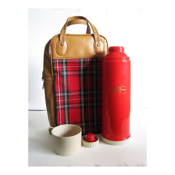 vintage red Thermos with matching plaid tartan lunch bag.