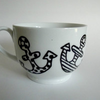 Anchors Away Hand Drawn Mug