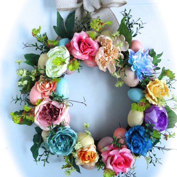 Silk Floral Spring Wreath -  Natural Twig Wreath, Easter Wreath, Multi-Colored Easter Egg and Flower Wreath