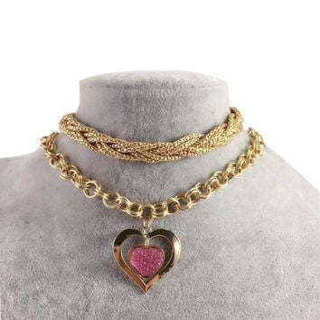 Gold Plated Chain Statement Heart Pendant
