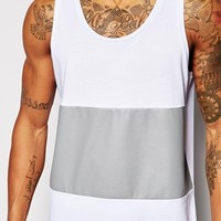 ASOS Longline Vest With Faux Leather Panel And Stepped Hem Skater Fit