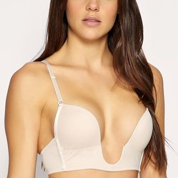 Ultra Deep U Plunge Push up V Bra 3 Way Straps Convertible Maximum Cleavage Tops