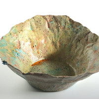 Paper mache bowl. One-of-a-kind gift. Unique anniversary gift or home decor accent piece. Stylish, whimsical and fun. Sand, sea and sky.
