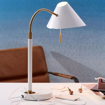 Mid-Century Task Table Lamp + USB