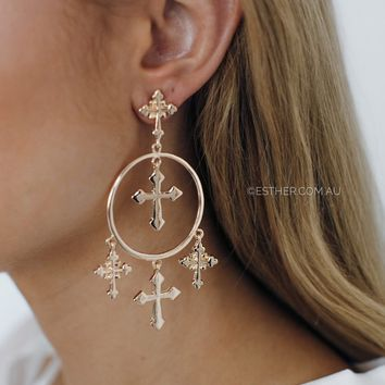 cena cross hoop earrings - gold