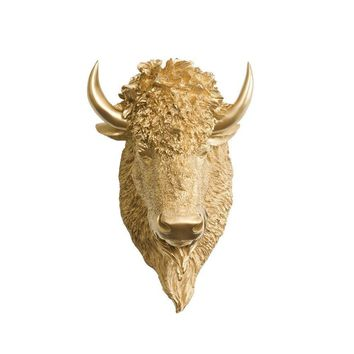 The Yellowstone | Large Buffalo Bison Head | Faux Taxidermy | Gold Resin