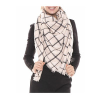 Womens Tan Square Check Blanket Scarf with Frayed Edges