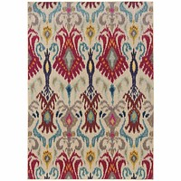 Oriental Weavers Kaleidoscope Ivory Red Abstract Floral Transitional Rug