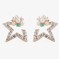 Diamond Star Flower Earrings