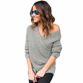 Gray Wrap Front V Neck Ribbed Long Sleeve Sweater