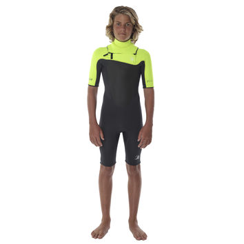 Billabong Boys' Foil 2Mm Chest Zip Short Sleeve Spring Lime