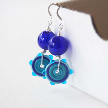 Cobalt Blue Earrings, Lampwork Glass Earrings, Glass Disc Earrings, Beaded Earrings