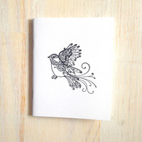 Medium Notebook: Bird, Black, Graduation, Wedding, Favor, Special, Journal, Blank, Unlined, Unique, Gift, Notebook, For Her, For Him, WH99