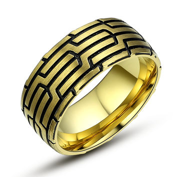 Stainless Steel Aztec Pattern Ring