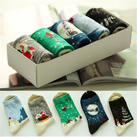 Womens Comfortable Casual Sport Santa Christmas Claus Long Socks Best Gift (5 PCS) Socks-52