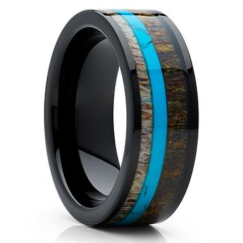 Deer Antler Wedding Band - Black Ring - Turquoise Wedding Ring - Antler Ring