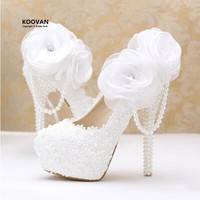 Koovan Wedding Shoes 2017 fashion white pearl lace flowers high heels shoes bridal shoes Woman wedding shoes Women pumps 14cm