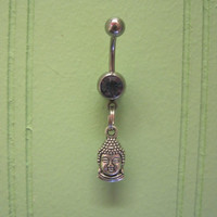 Belly Button Ring - Body Jewelry - Buddha Head with Light Purple Gem Stone Belly Button Ring