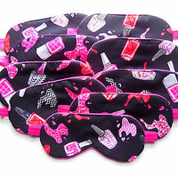 10 Sleep Mask Set Slumber Birthday Party Favor Blindfold Eye Shade Girl Teen Kid