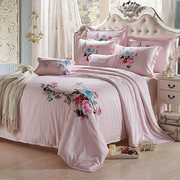 Silk ink and wash painting Duvet Quilt Cover Sets Bedding Cover set 1.5M/1.8M Bed 01 Pink