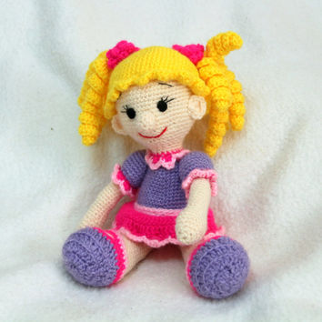 """Crochet doll. soft toy for children. Doll with a """"Golden"""" curls. In a purple dress. Awesome gift for a little girl"""