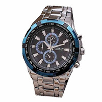 Curren Blue, Black and Silver Mens Stainless Steel Watch (3 Dials Decorative ONLY)