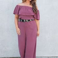 Teegan Ruffle Jumpsuit (Wine)