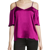 Cold-Shoulder V-Neck Top, Wine, Size:
