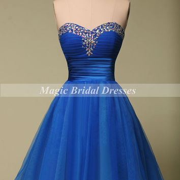 Royal Blue Organza Prom Dress Sweetheart Beading A-line Short Party Dress Above Knee Mini Homecoming Dress Summer Style Women Dresses