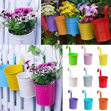 Colorful Metal Iron Flower Pots Hanging Balcony Garden Plant Planter Home Decor Supplies Wall Hanging Metal Bucket Flower Holder