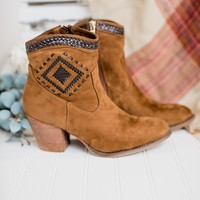 Jovi Suede Stitched Booties (Tan)