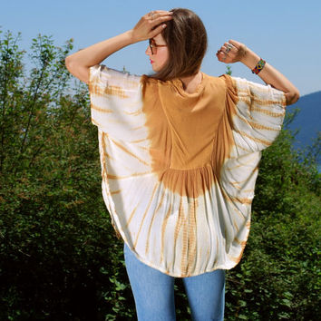 70's Boho Tunic Top, Tie Dye Indian Gauze Top, Ethnic Embroidered Shirt, Tan + Cream Butterfly Hippie Top, Bohemian Summer Festival Top