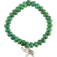 Green Turquoise with Sterling Silver Elephant by Garrett Jewelry