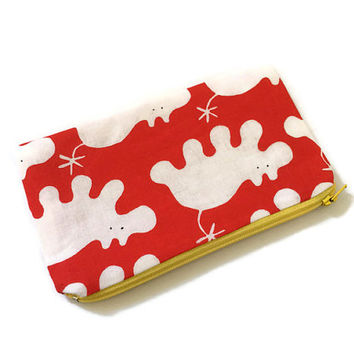 Animals Zipper Pouch -  Small Cosmetic Bag - Cute Kids Pouch - Children Birthday Gift - Travel Organizer - Kawaii Pouch - Red and White