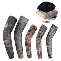 2 Pcs Multi-colors Superfine Fiber Elastic Fake Temporary Tattoo Sunscreen Sleeve Designs Body Arm Stockings Tatoo for Men Women